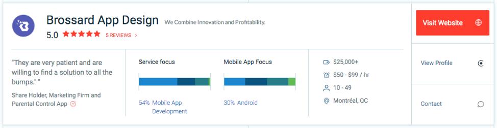 Brossard App Design Profile Screenshot on Clutch
